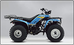 yamaha quads. the moto-4 was first yamaha 4-wheel atv. it featured a 196cc 4-stroke engine, snorkel air intake, shaft drive, electric starter, centrifugal automatic quads